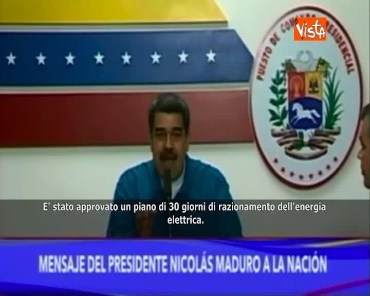 """Venezuela, Maduro: """"Approvato piano di 30 giorni di razionamento energia elettrica"""""""