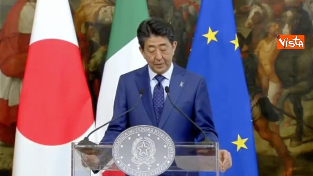 """Shinzo Abe: """"Stiamo rafforzando rapporti bilaterali con l'Italia in tutti i campi"""""""
