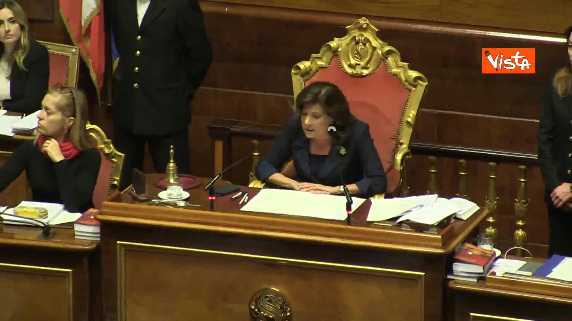 Casellati annuncia elezione Cartabia, standing ovation dell'aula